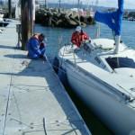 青木ヨットスクールSBD大阪コース 2012年3月 バウスプリングをバイトにとる
