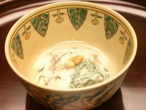 菊菜とズイキのゴマ和え