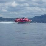 3.航路付近は伊豆大島行きの高速船が航行